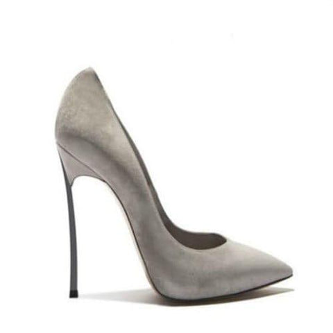 Gray Flock Pointed Toe High Heel Pumps-Angel Doce