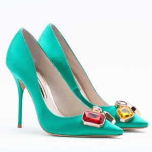Green Pointed Toe Stiletto Heel Pumps-Angel Doce
