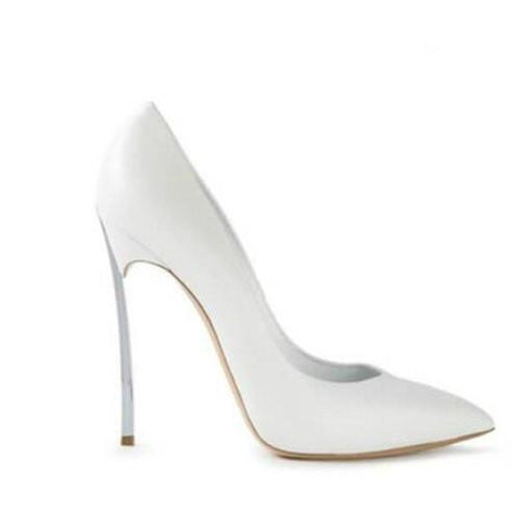 White Matte Pointed Toe High Heel Pumps-Angel Doce