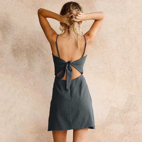 Tie Back Mini Dress-Angel Doce