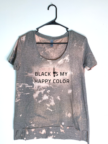 Black Is My Happy Color, Bleach Dyed Women's Hi-Lo T-Shirt