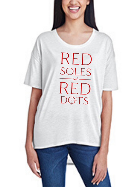 Red Soles and Red Dots, Women's Hi-Lo Freedom Shirt