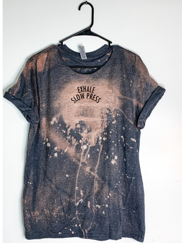 Exhale Slow Press Bleach Dyed T-Shirt