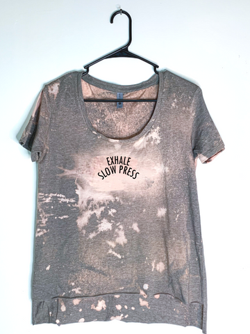 Exhale Slow Press, Bleach Dyed Women's Hi-Lo T-Shirt