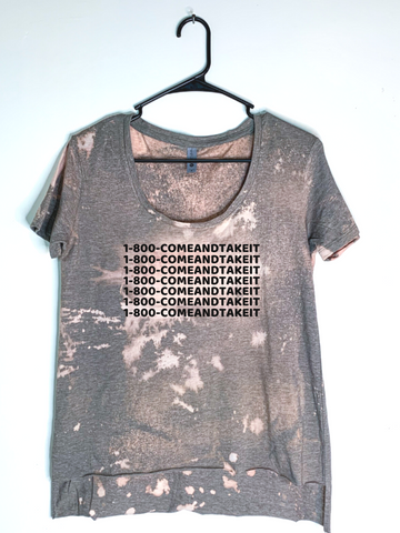 1-800-COMEANDTAKEIT, Bleach Dyed Women's Hi-Lo T-Shirt