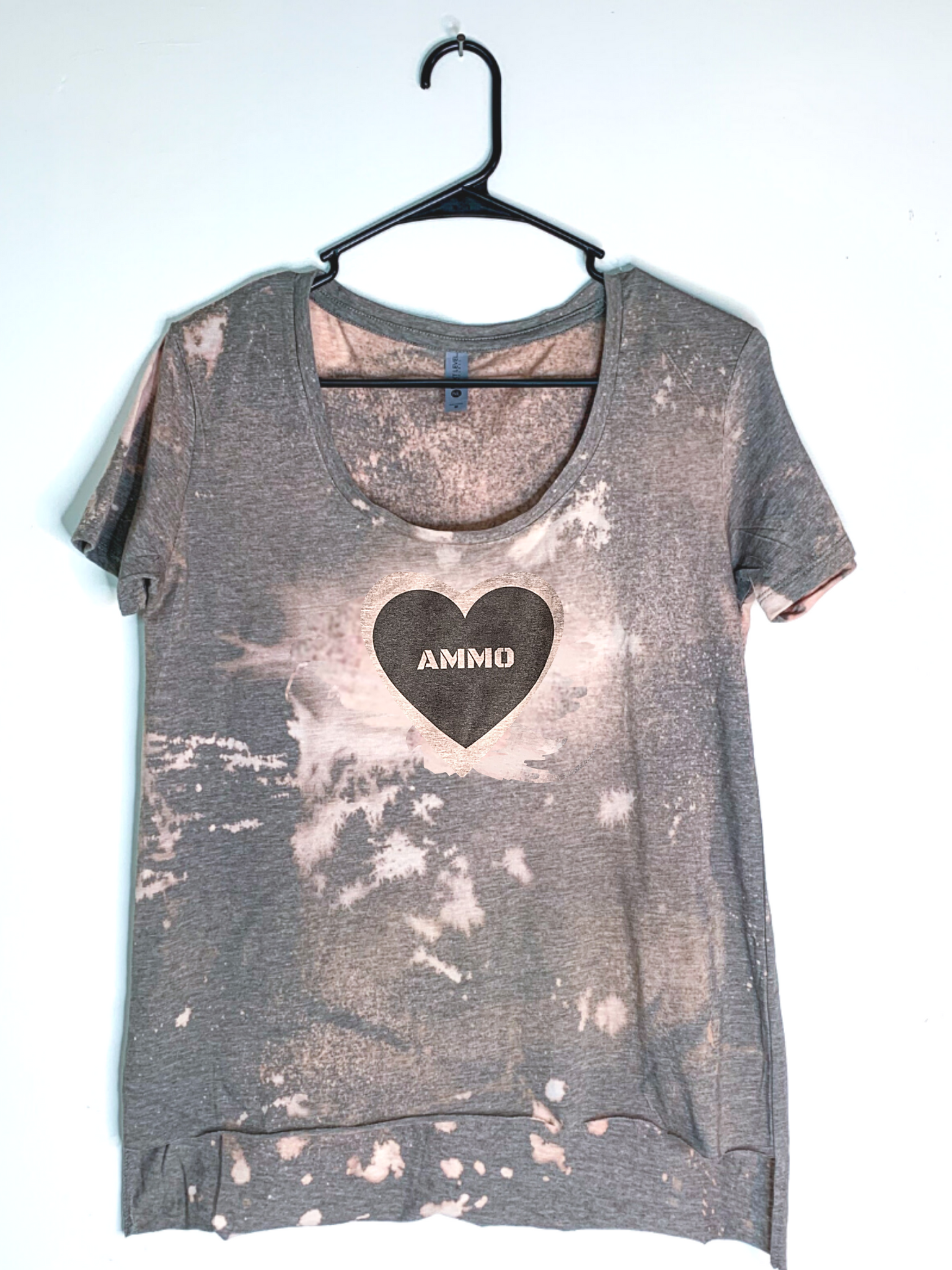 Ammo Love, Bleach Dyed Women's Hi-Lo T-Shirt