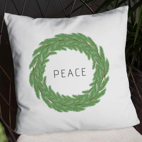 Peace Boxwood Wreath Dry Fire Pillow Case
