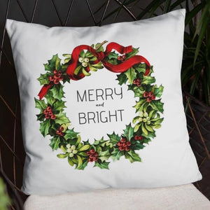Merry and Bright Vintage Christmas Wreath Dry Fire Pillow Case