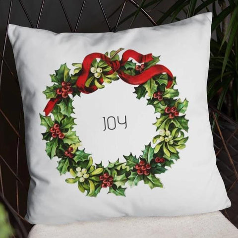 Joy Vintage Christmas Wreath Dry Fire Pillow Case