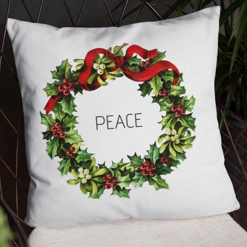 Peace Vintage Christmas Wreath Dry Fire Pillow Case