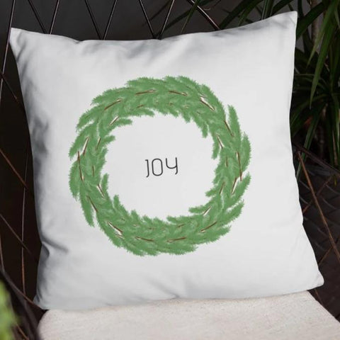 Joy Boxwood Wreath Dry Fire Pillow Case