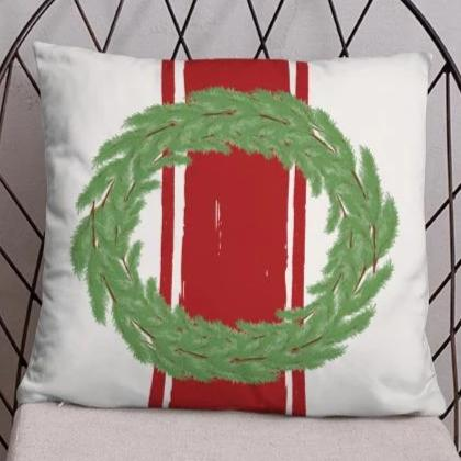 Farmhouse Wreath Dry Fire Pillow Case