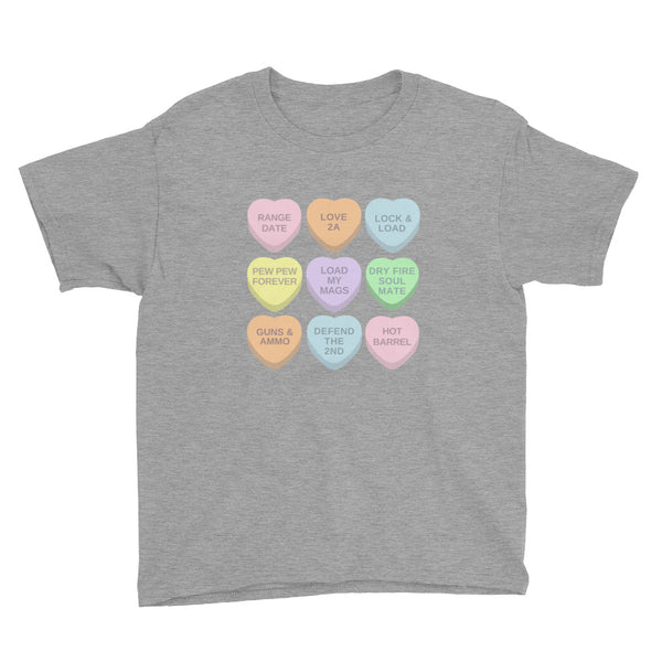 2a Candy Hearts, Youth Short Sleeve T-Shirt