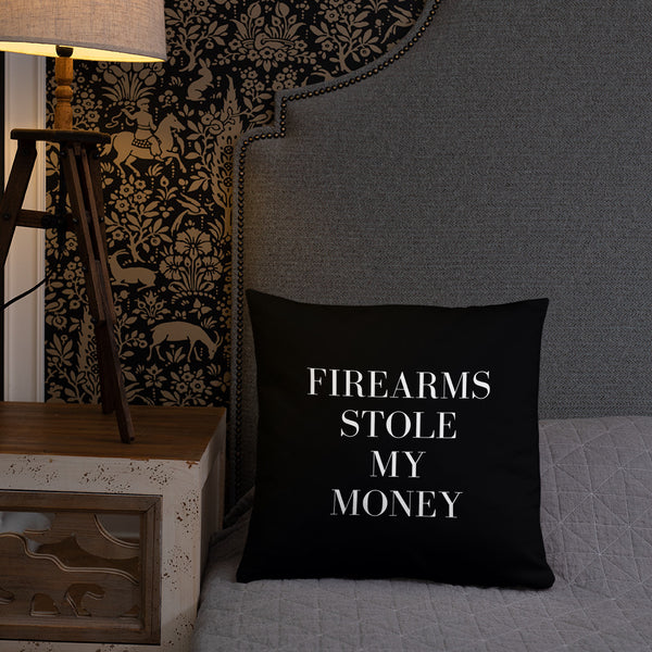 Firearms Stole My Money Dry Fire Pillow, Pink Silhouette Target
