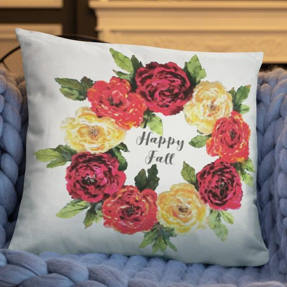 Happy Fall Wreath Dry Fire Pillow Case