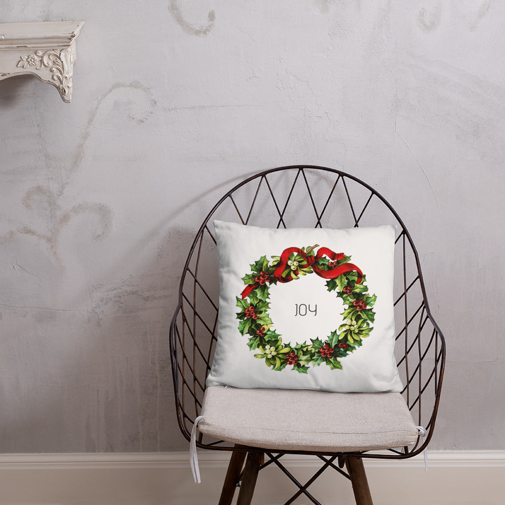 Joy Vintage Christmas Wreath Dry Fire Pillow, Dot Drill Style Target
