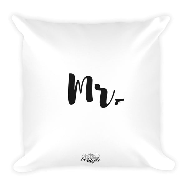 Mr. Dry Fire Pillow, Black Silhouette Target