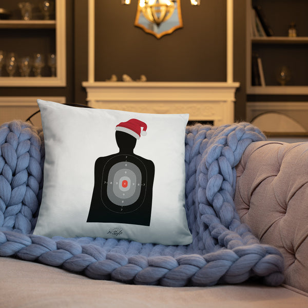 Pew Pew Pew Flannel Dry Fire Pillow, Black Silhouette Target