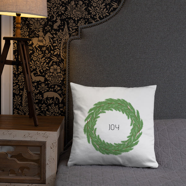 Joy Boxwood Wreath Dry Fire Pillow, Dot Drill Style Target