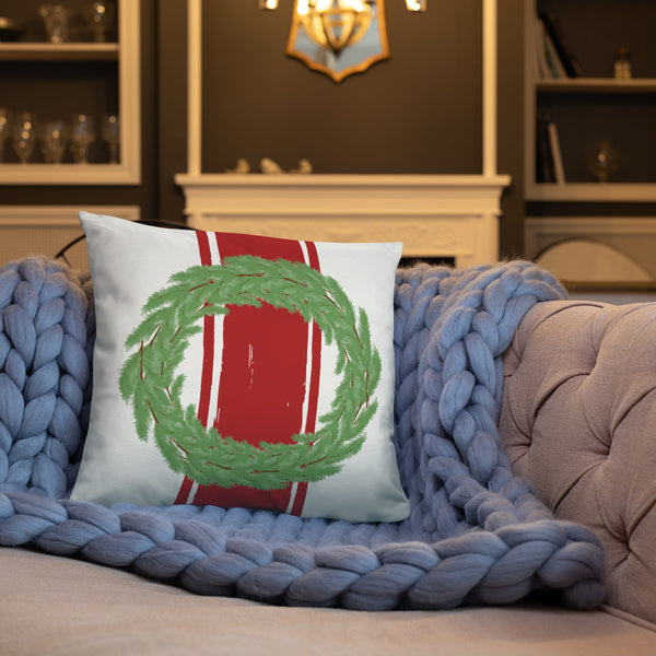 Farmhouse Wreath Dry Fire Pillow