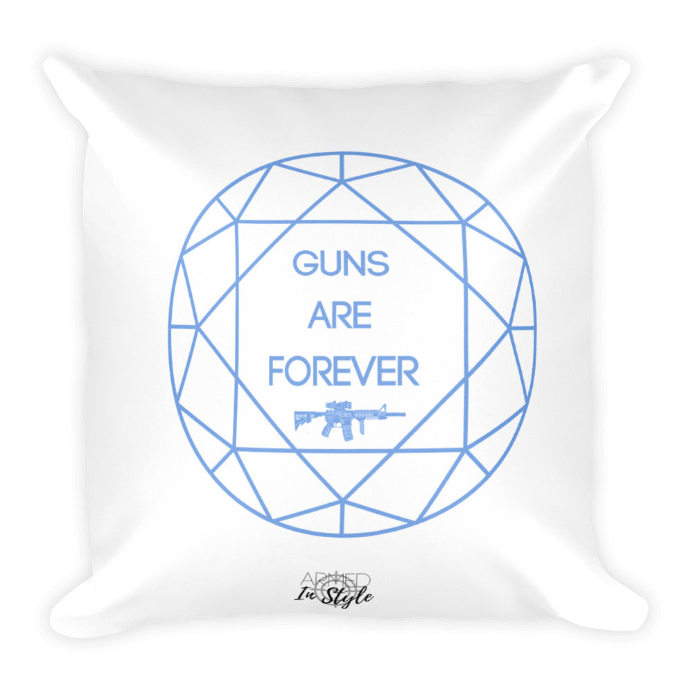 Guns are Forever in Blue Dry Fire Pillow, Pink Silhouette Target