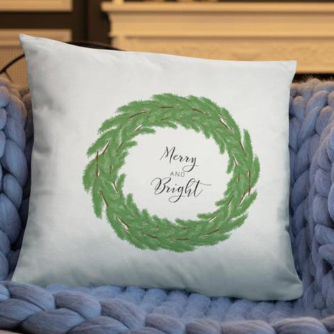 Merry and Bright Boxwood Wreath Dry Fire Pillow Case