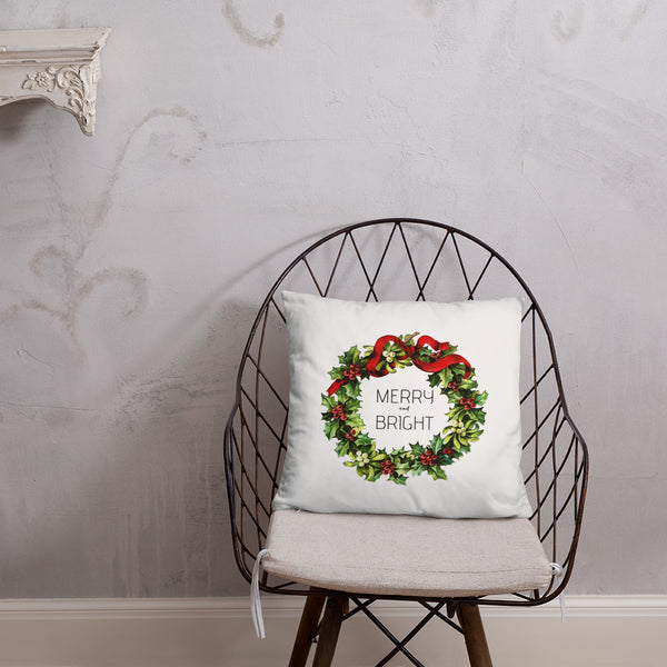 Merry and Bright Vintage Christmas Wreath Dry Fire Pillow