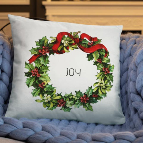 Joy Vintage Christmas Wreath Dry Fire Pillow
