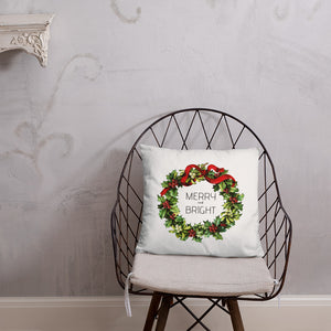 Merry and Bright Vintage Christmas Wreath Dry Fire Pillow, Pink Silhouette Target