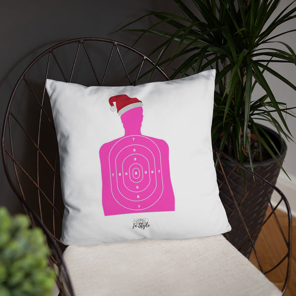 Pew Pew Pew Flannel Dry Fire Pillow, Pink Silhouette Target