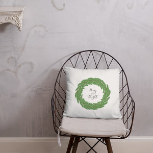 Merry and Bright Boxwood Wreath Dry Fire Pillow, Pink Silhouette Target