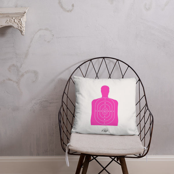 Thin Blue Line Badge Dry Fire Pillow, Pink Silhouette Target