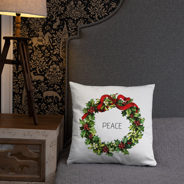 Peace Vintage Christmas Wreath Dry Fire Pillow, Pink Silhouette