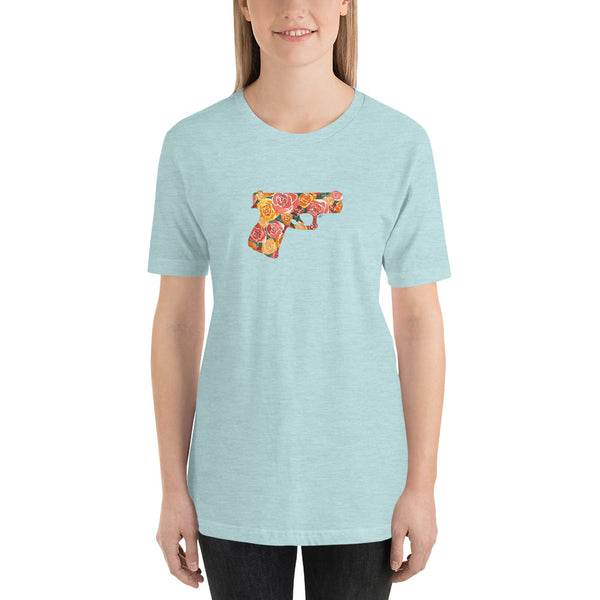 Glock and Roses by Felicha Dugan, Woman's T-Shirt