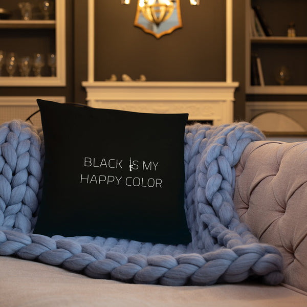 Black Is My Happy Color Dry Fire Pillow, Dot Drill Style Target
