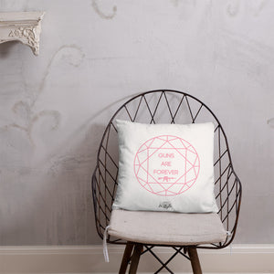 Guns are Forever in Pink Dry Fire Pillow, Black Silhouette Target