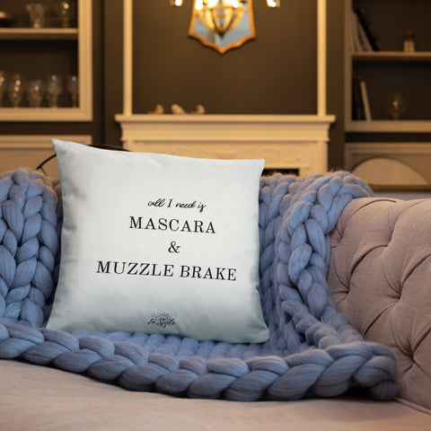 Mascara & Muzzle Brake Dry Fire Pillow, Pink Silhouette Target
