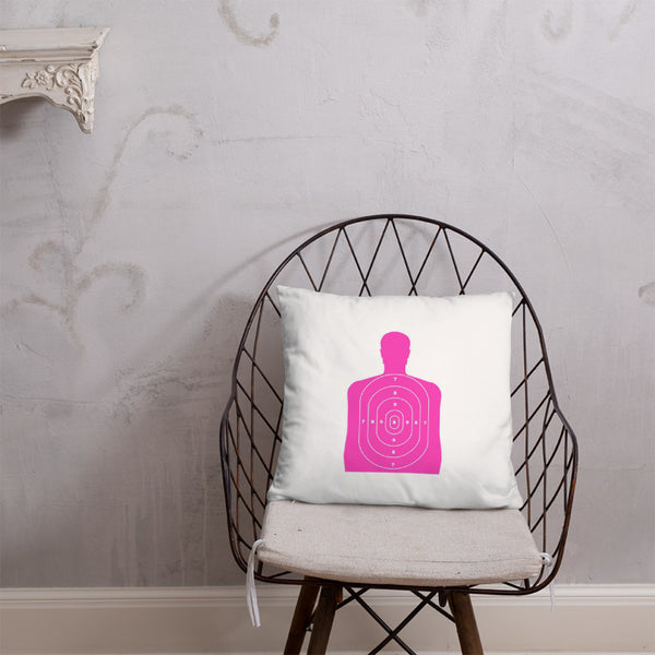 Guns are Forever in Mint Dry Fire Pillow, Pink Silhouette Target
