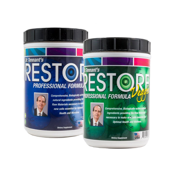 Restore - Professional Nutrition Formula from Dr Jerry Tennant Comprehensive, Biologically-active natural ingredients provides the raw materials necessary to make new cells essential for optimal health and wellness