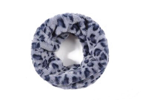 Leopard Print Fluffy Grey Snood