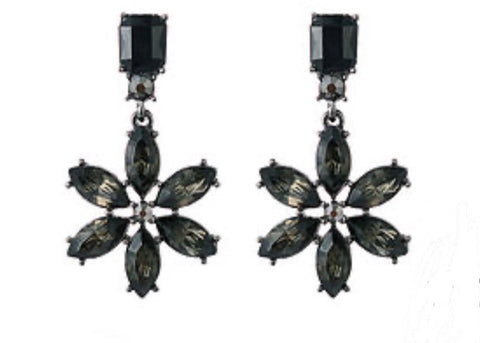Black Flower Drop Earrings