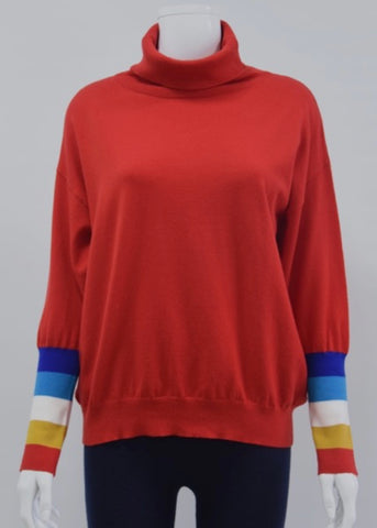 Rainbow Sleeve Polo Neck