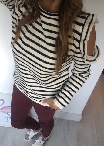 Stripe Cold Shoulder Jumper