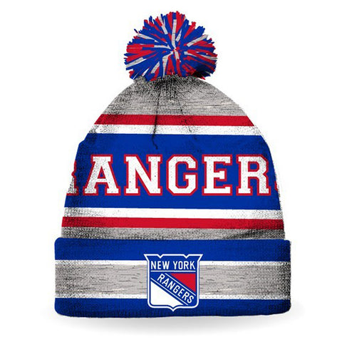 NHL New York Rangers Striped Pompom Hat,  [product_collection], DEFINITE Sporting Goods, [product_tags]- DEFINITE Sporting Goods