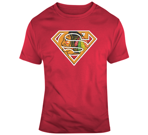 Chicago Black Hawks Superman T Shirt,  [product_collection], DEFINITE Sporting Goods, [product_tags]- DEFINITE Sporting Goods