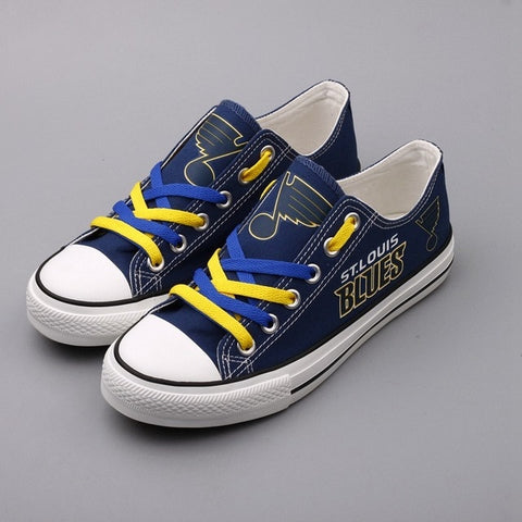 St Louis Blues Womens NHL Custom Canvas Shoes,  [product_collection], DEFINITE Sporting Goods, [product_tags]- DEFINITE Sporting Goods