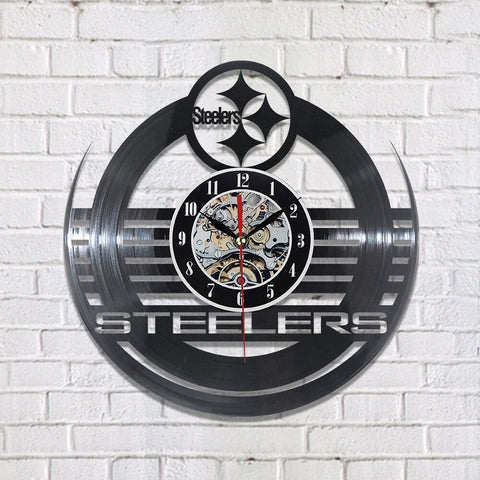Steelers Vinyl Record Wall Clock,  [product_collection], DEFINITE Sporting Goods, [product_tags]- DEFINITE Sporting Goods