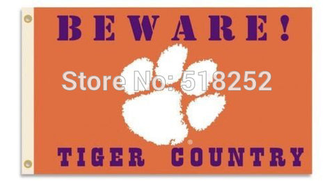 Clemson Beware Tigers Country Flag  3x5 FT,  [product_collection], DEFINITE Sporting Goods, [product_tags]- DEFINITE Sporting Goods