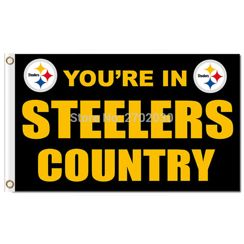 NFL YOU'RE IN STEELERS COUNTRY Pittsburgh Steelers Flag 3x5 Feet,  [product_collection], DEFINITE Sporting Goods, [product_tags]- DEFINITE Sporting Goods