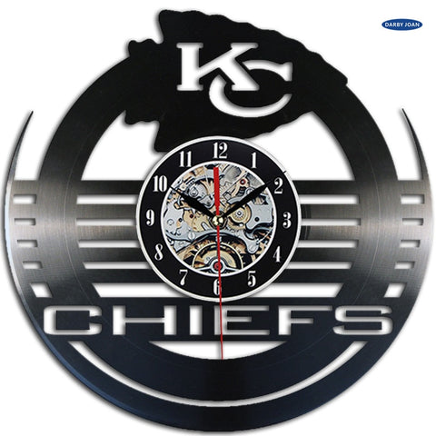 Kansas City Chiefs Retro Record Wall Clock,  [product_collection], DEFINITE Sporting Goods, [product_tags]- DEFINITE Sporting Goods